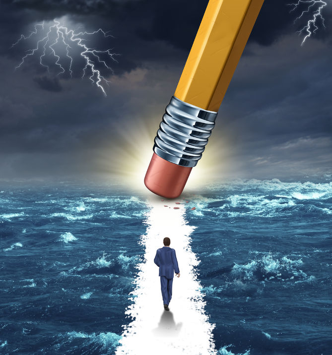 25721241 - freedom concept with a lightning storm at sea and a pencil erasing a clear path for a businessman to walk to his success goal as a metaphor for bridge building solutions and overcoming adversity